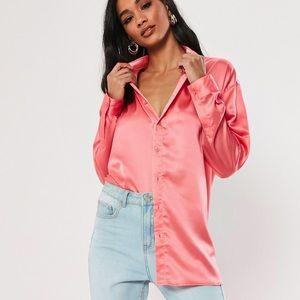 Pink oversized satin shirt